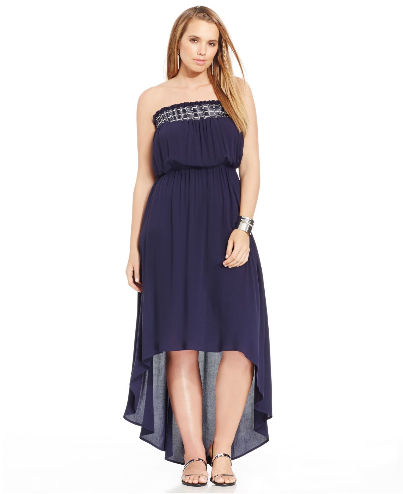 Soprano Plus Size Strapless High-low Maxi Dress in Blue | Lyst