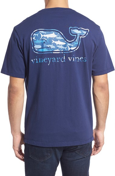 Vineyard vines 39 sea of fish whale 39 graphic t shirt in blue for Vineyard vines fishing shirt