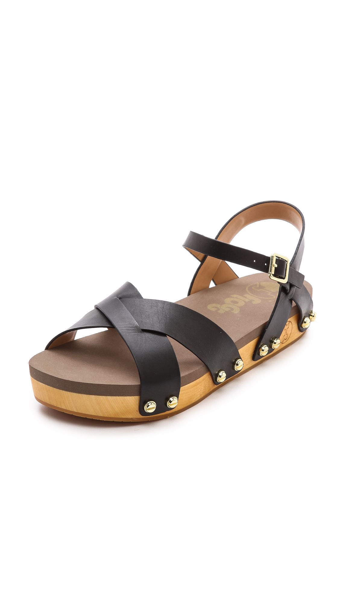 Lyst Flogg Nessy Ankle Strap Flat Sandals Brown In Black