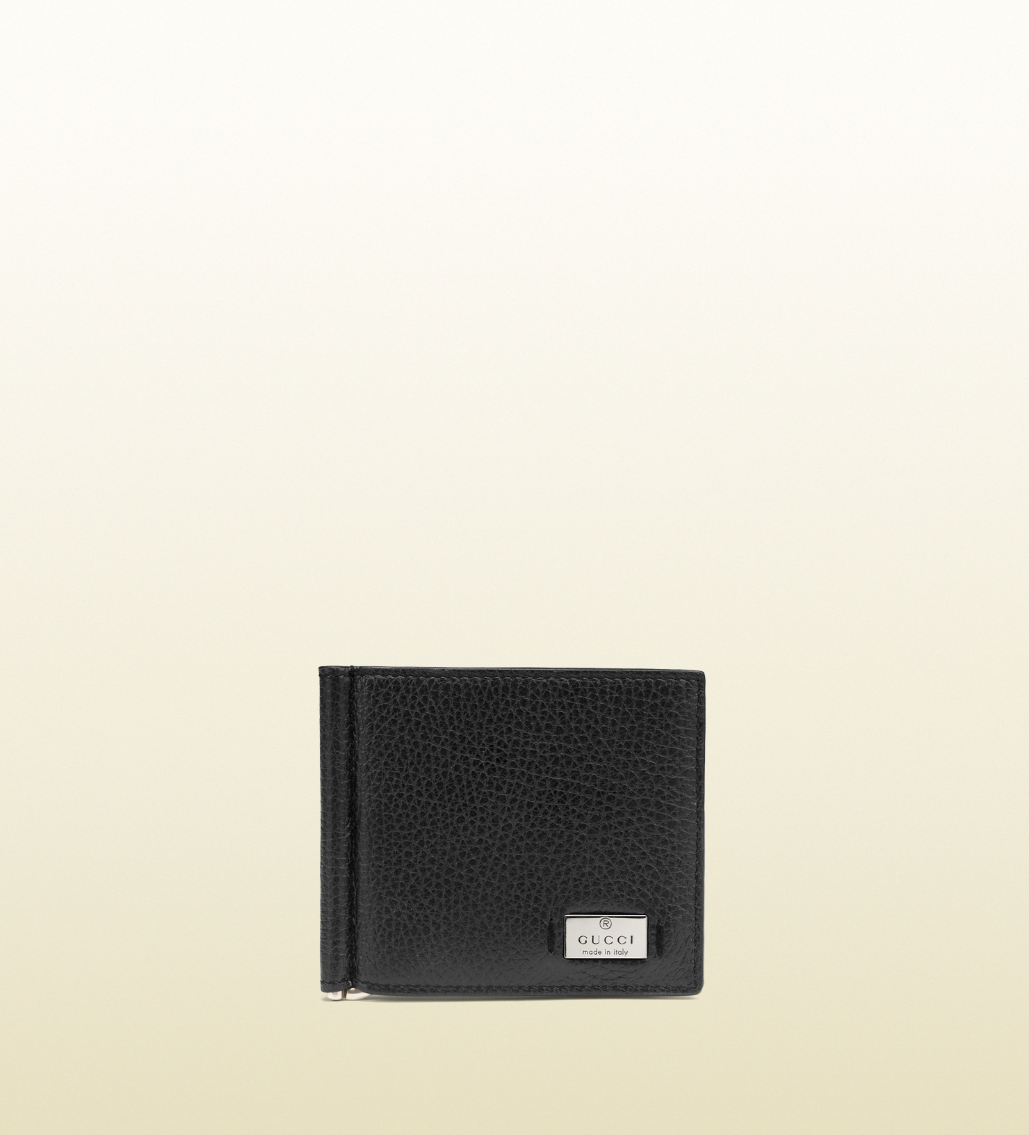 81d6ddc437d Lyst - Gucci Metal Tag Leather Money Clip Wallet in Black for Men