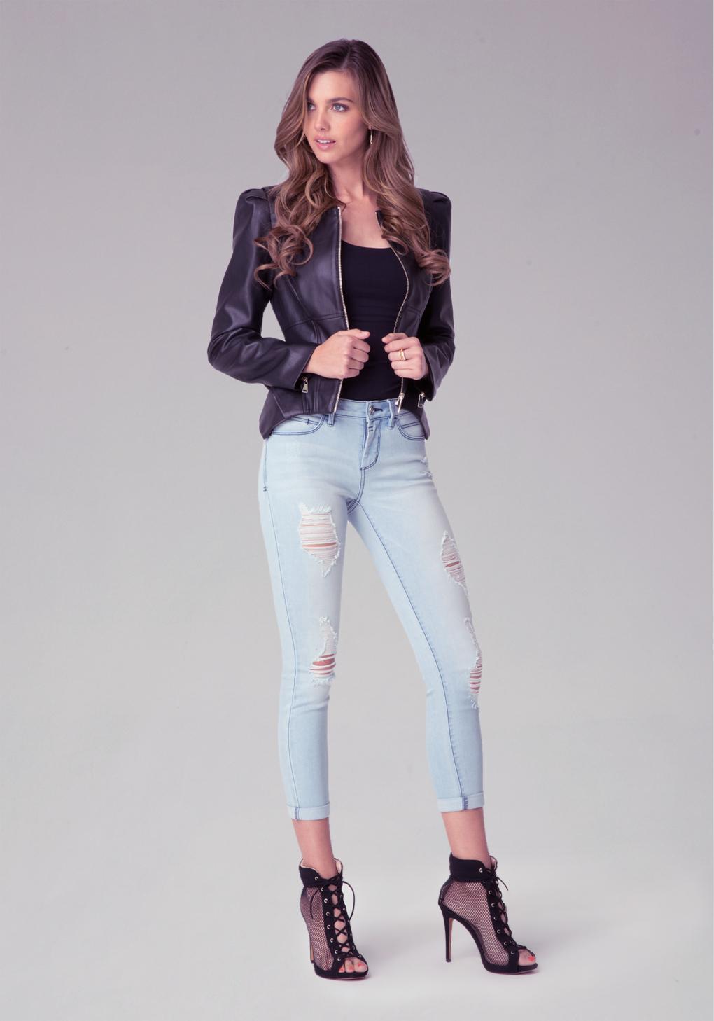 Bebe Heartbreaker Crop Jeans in Blue