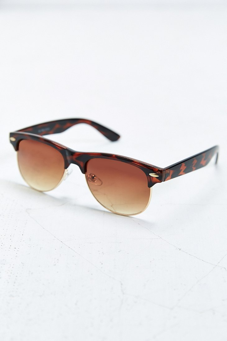 Glasses Frames Urban Outfitters : Urban Outfitters The Felon Round Half-Frame Sunglasses in ...