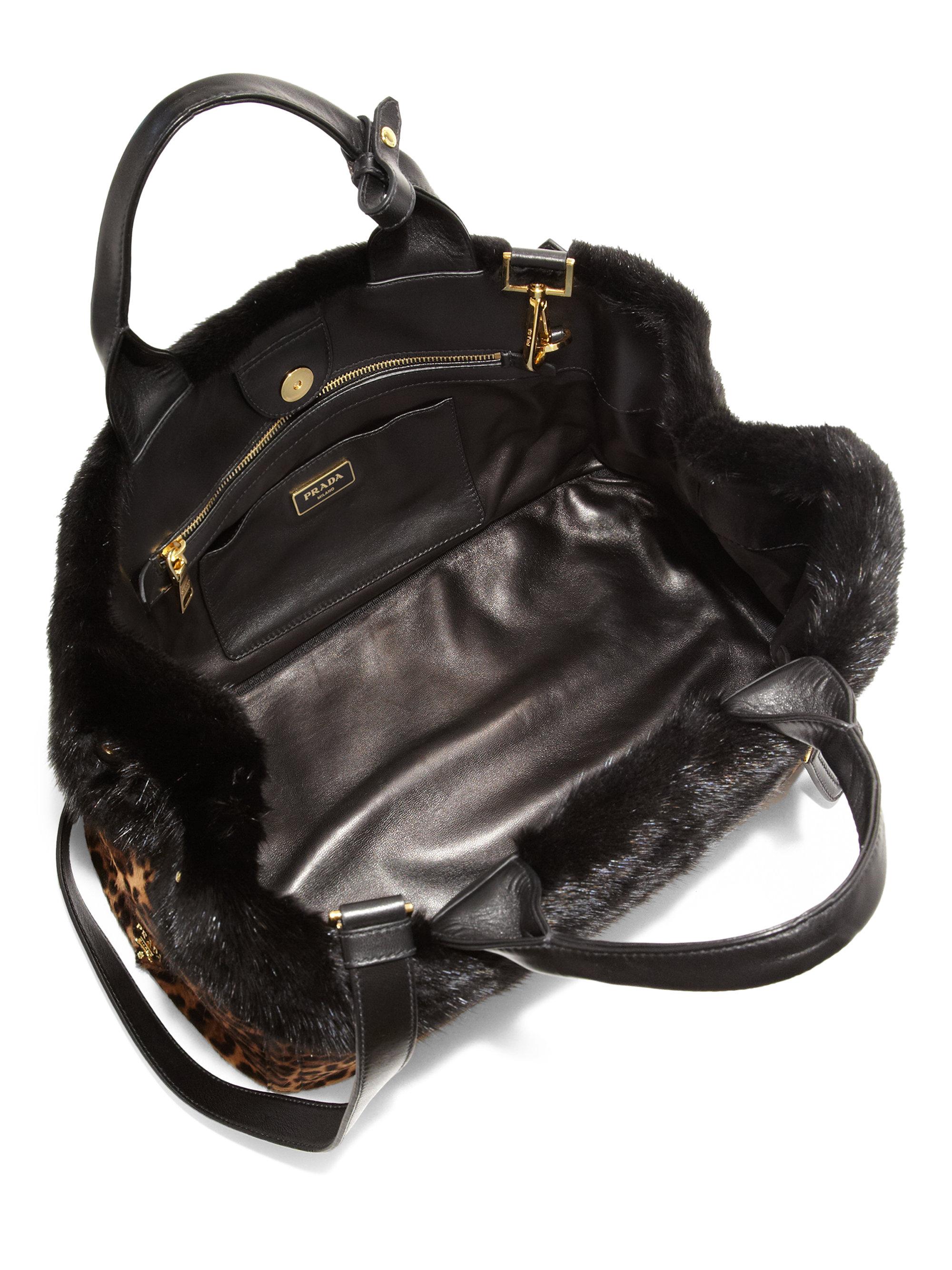 best faks - Prada Cavallino \u0026amp; Mink Fur Garden Bag in Animal (LEOPARD)   Lyst
