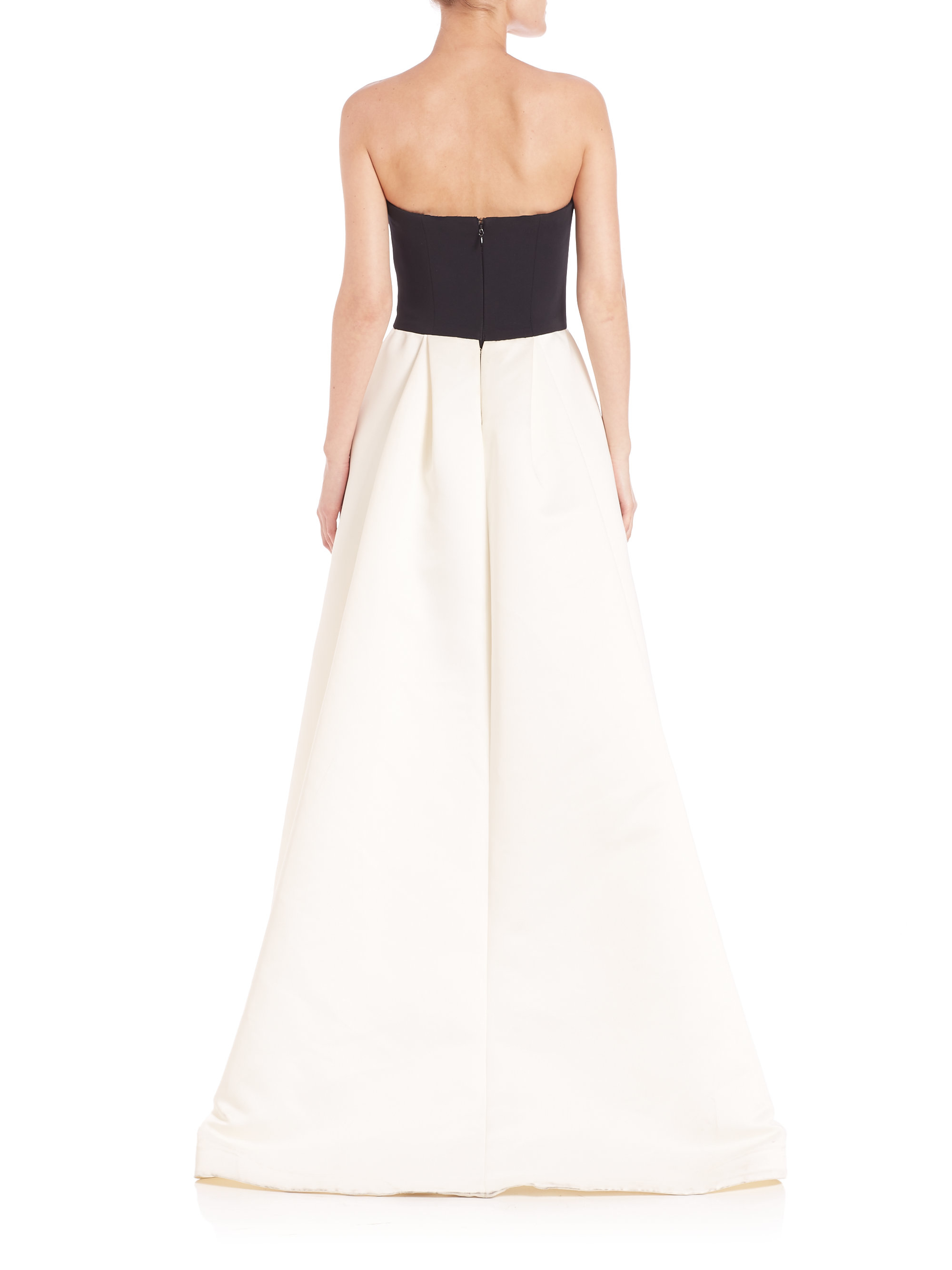 Lyst - Halston Strapless Hi-lo Ball Gown in Black