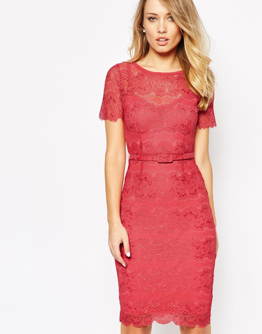Supply Online Comfortable Cheap Price Bodyfrock Lace Bodycon Dress with Floral Applique - Red Body Frock Huge Surprise For Sale Buy Cheap Extremely tWlZnw