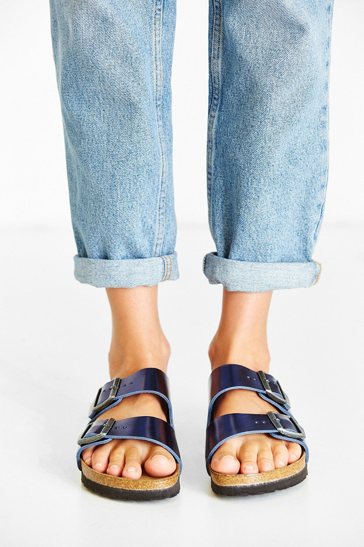 Birkenstock Arizona Metallic Soft Footbed Sandal In Blue