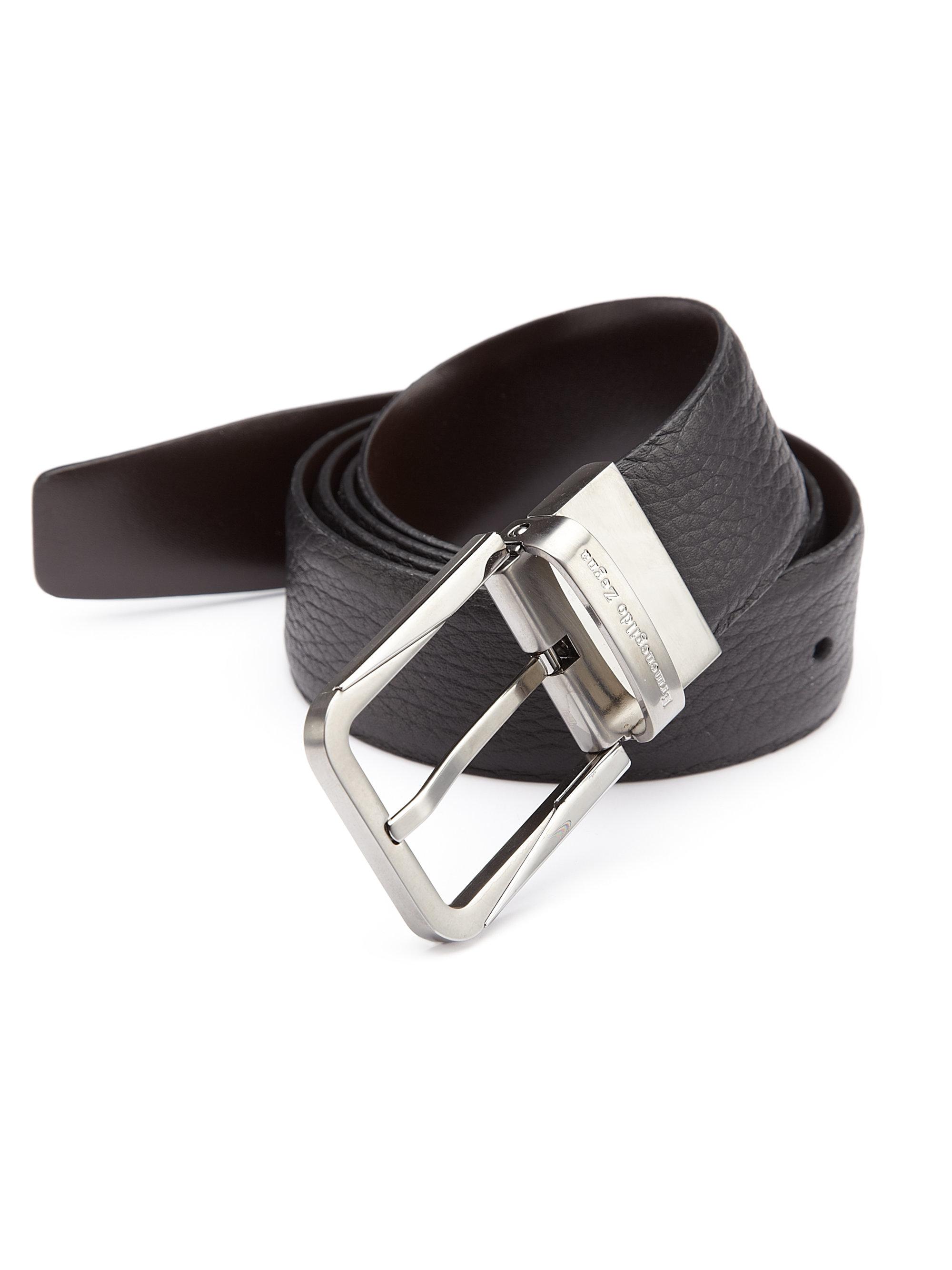0eb58ed8 Ermenegildo Zegna Black Pebble Leather Belt for men