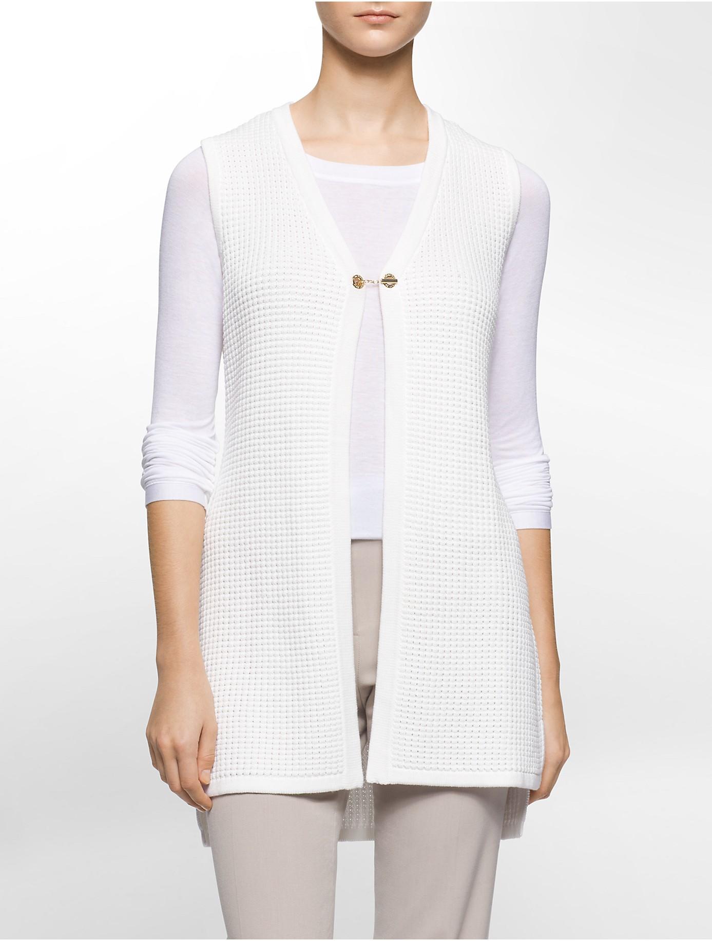 Knitting Pattern For Sleeveless Sweater : Calvin klein Waffle Knit Sleeveless Sweater Vest in White Lyst
