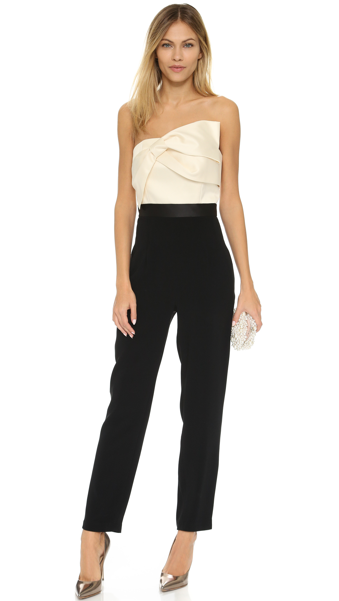 a7429f4f9a8c Lyst - Cynthia Rowley Strapless Jumpsuit With Draped Bow Top in Black