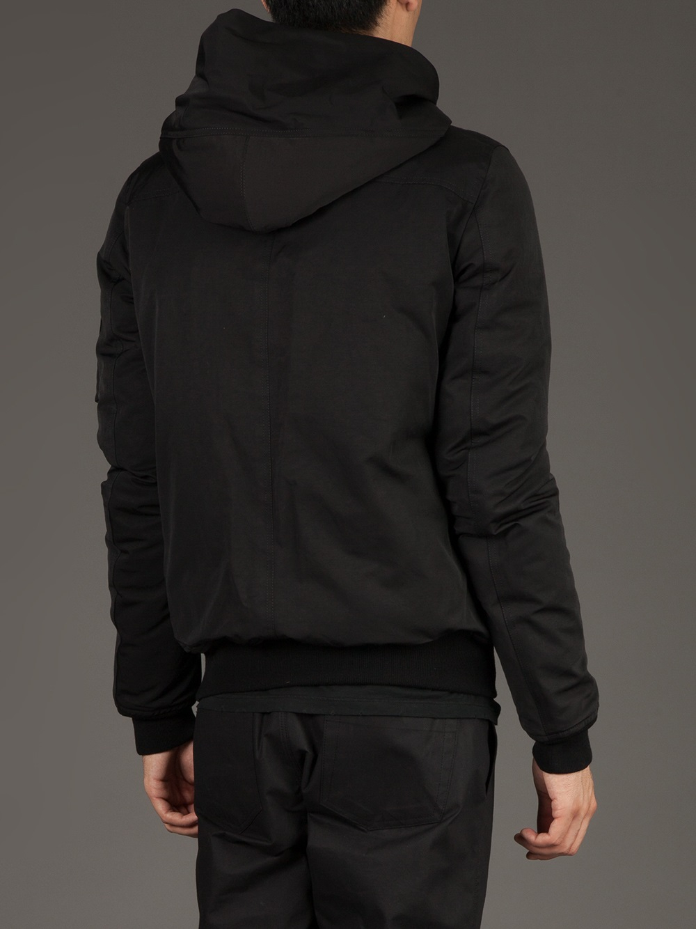 Rick owens Hooded Bomber Jacket in Black for Men | Lyst