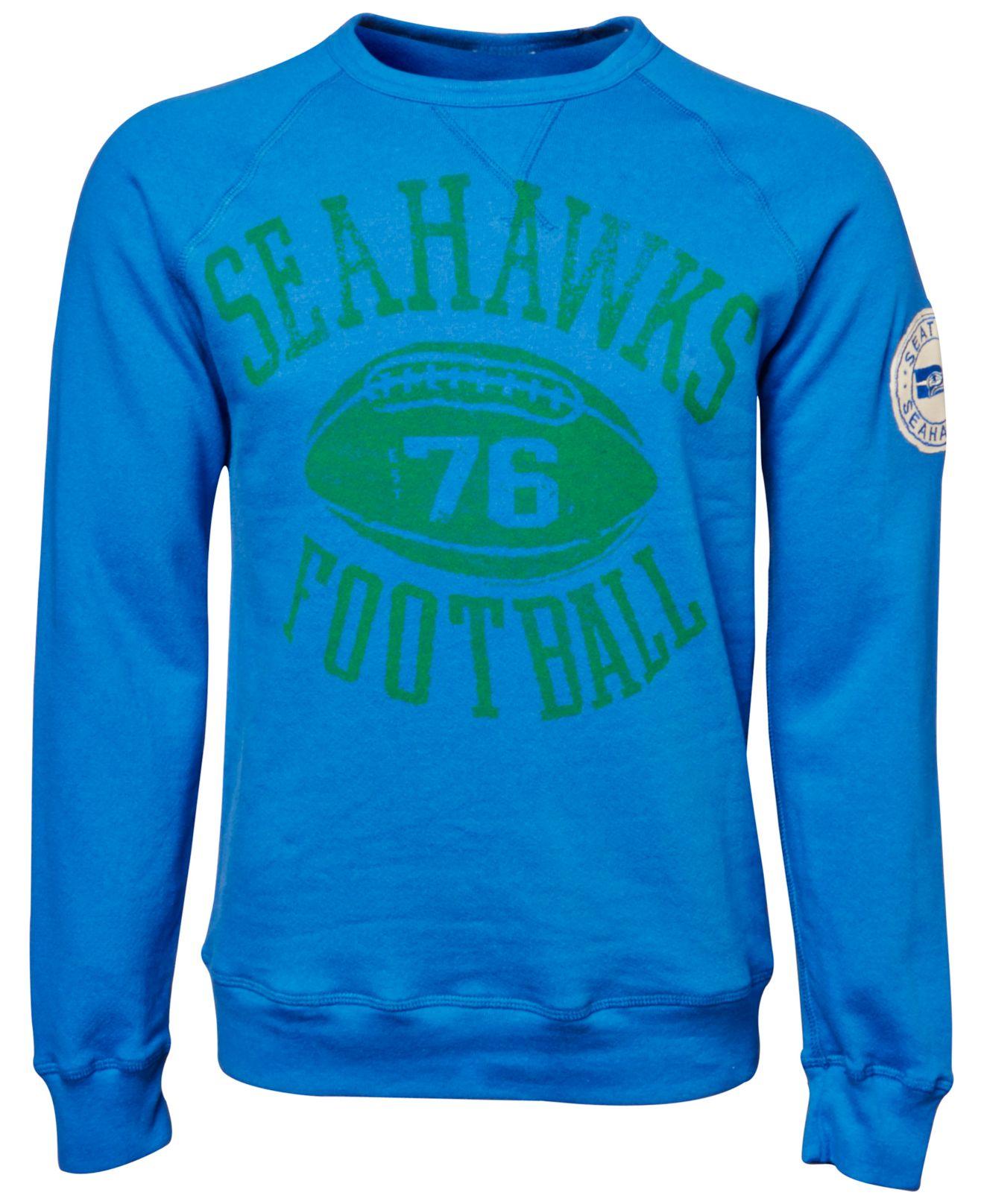 Womens Seattle Seahawks Junk Food Royal Champion Fleece Sweatshirt