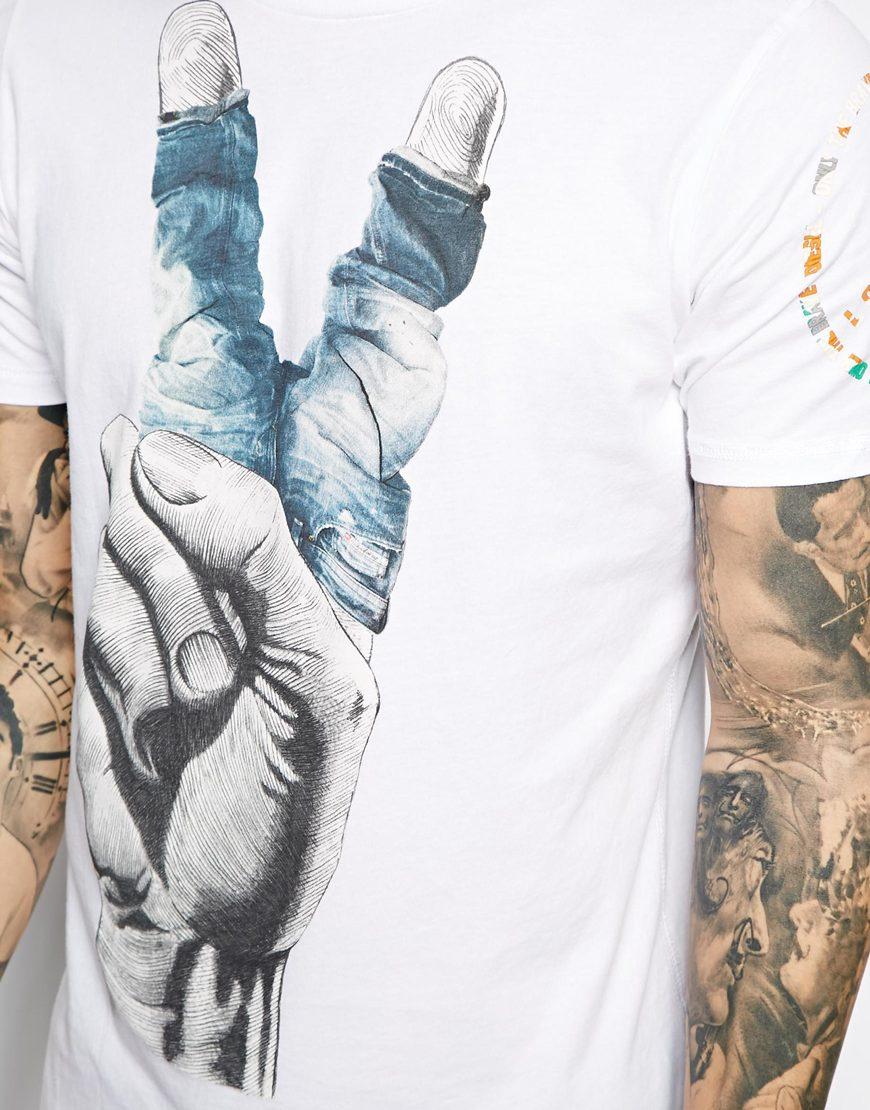 7c6f4590 DIESEL Tshirt Tlancer Denim Fingers Print in White for Men - Lyst