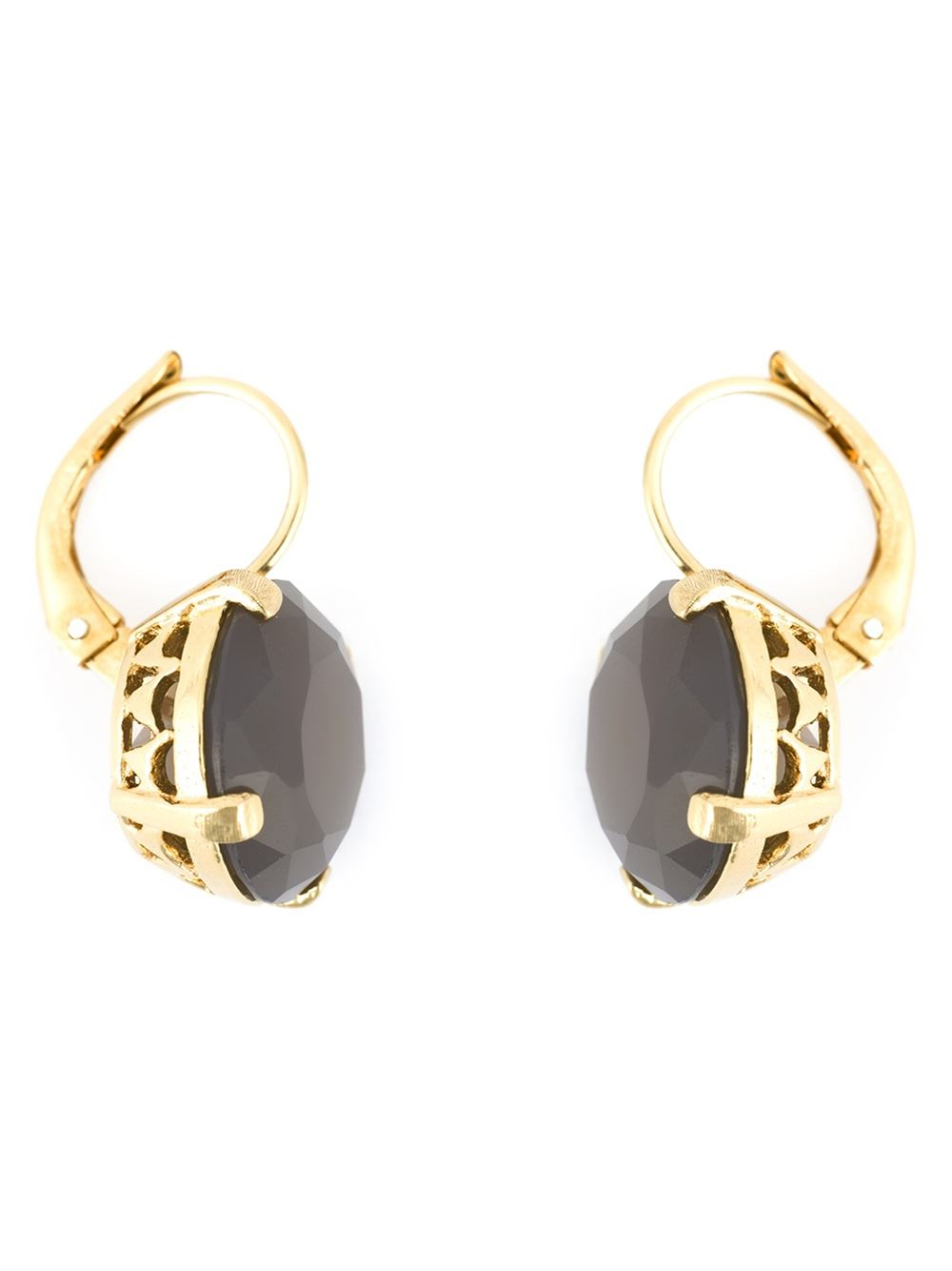 wouters grey agate earrings in gold pink
