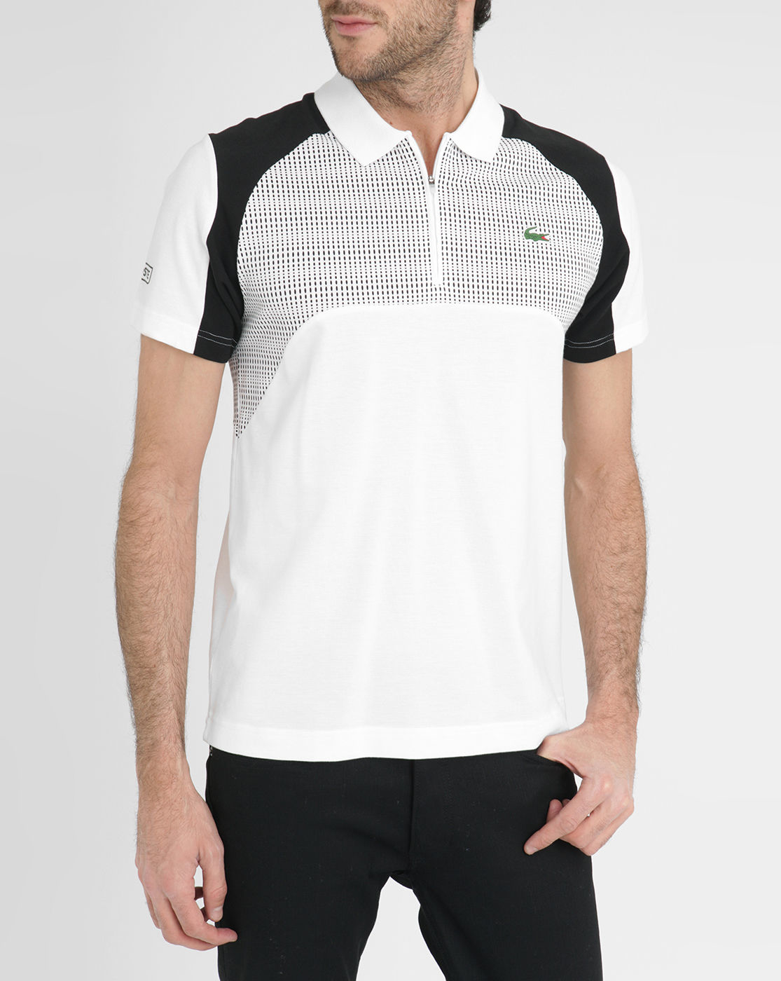 Lacoste black and white sport contrasting graphics zipped for Black and white short sleeve shirts