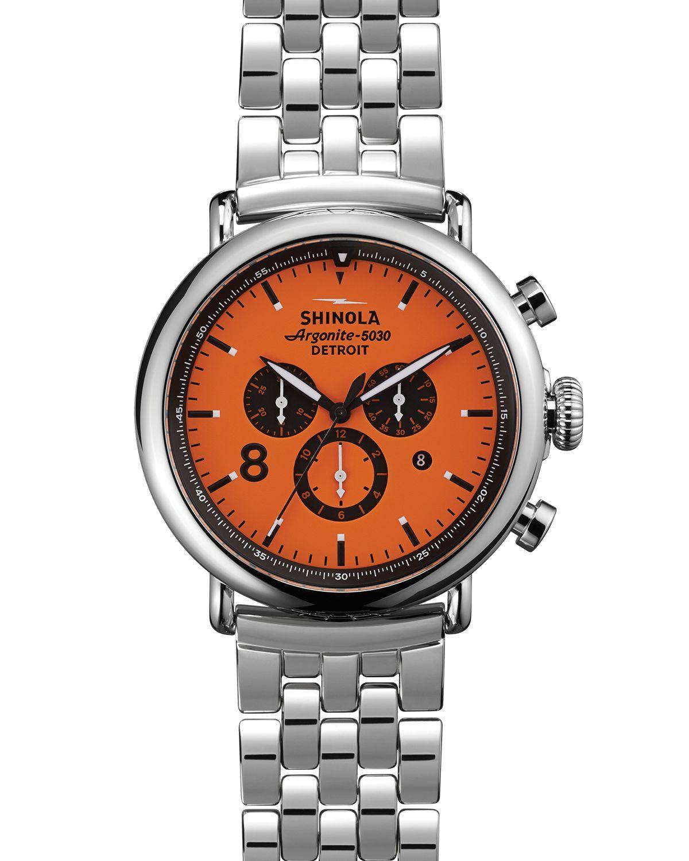 Shinola the runwell sport chronograph orange dial watch 47mm in orange for men lyst for Shinola watches