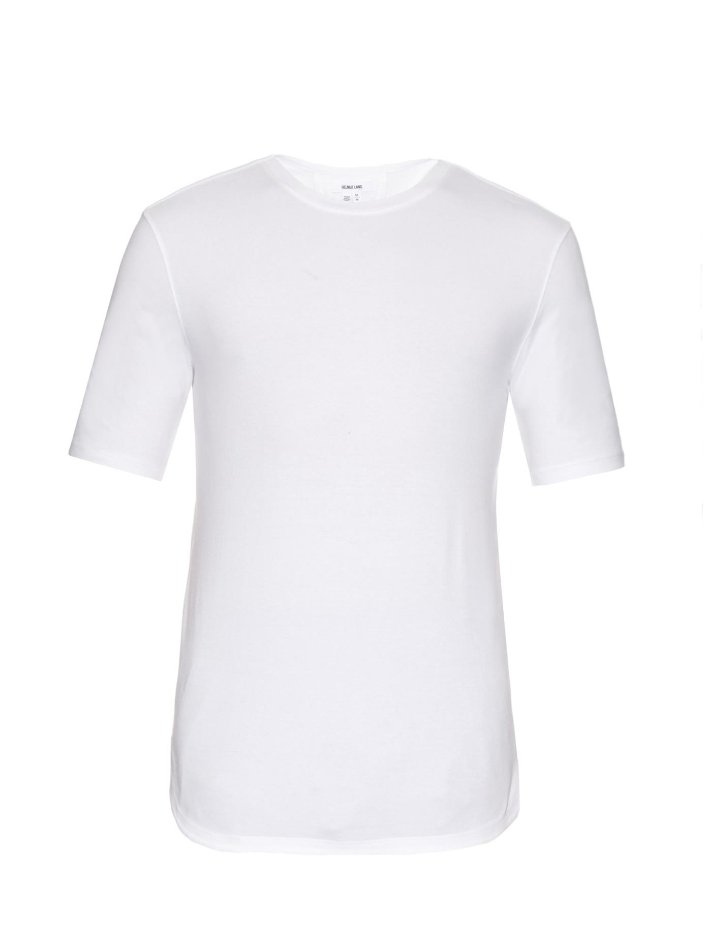 helmut lang crew neck stretch cotton t shirt in white for. Black Bedroom Furniture Sets. Home Design Ideas