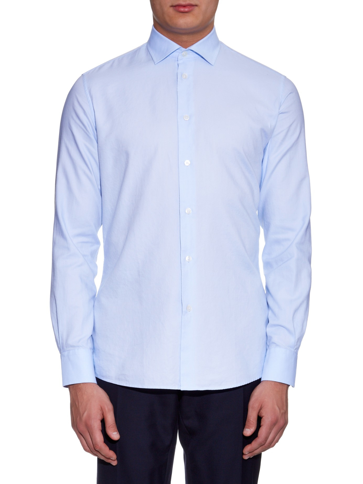 Lyst bottega veneta napoli oxford shirt in blue for men for Mens blue oxford shirt