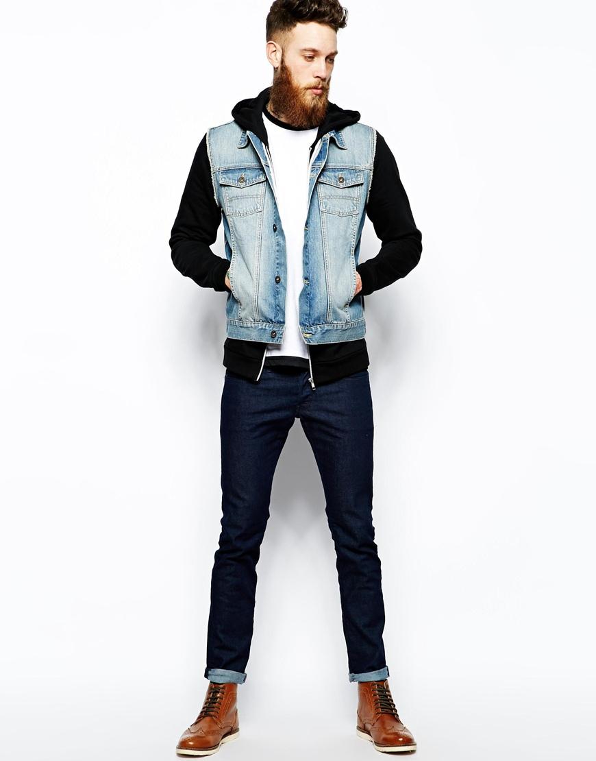 Sleeveless Denim Jacket With Hood