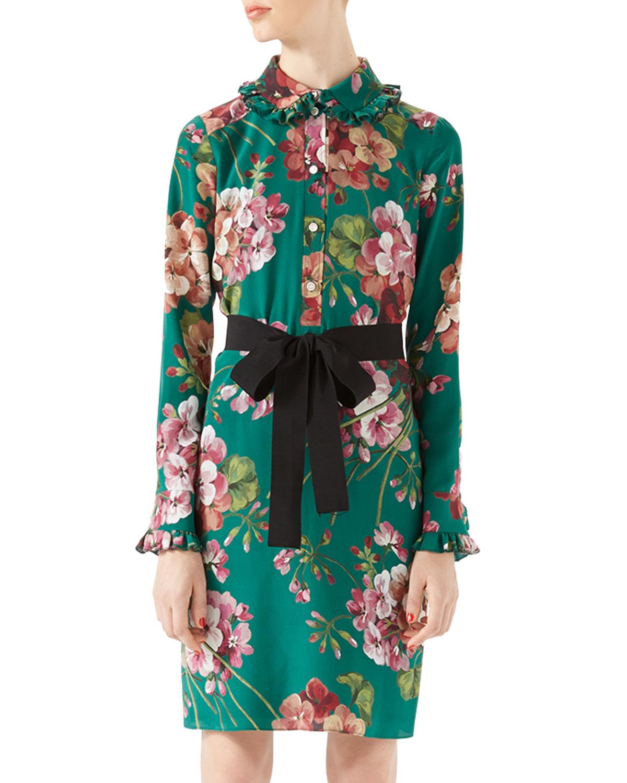 Gucci Blooms Print Silk Shirt Dress In Green Lyst