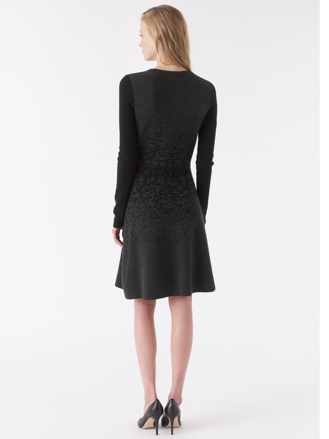 Jigsaw Wool Fade-Out Jacquard Long Sleeved Dress in Charcoal (Black)