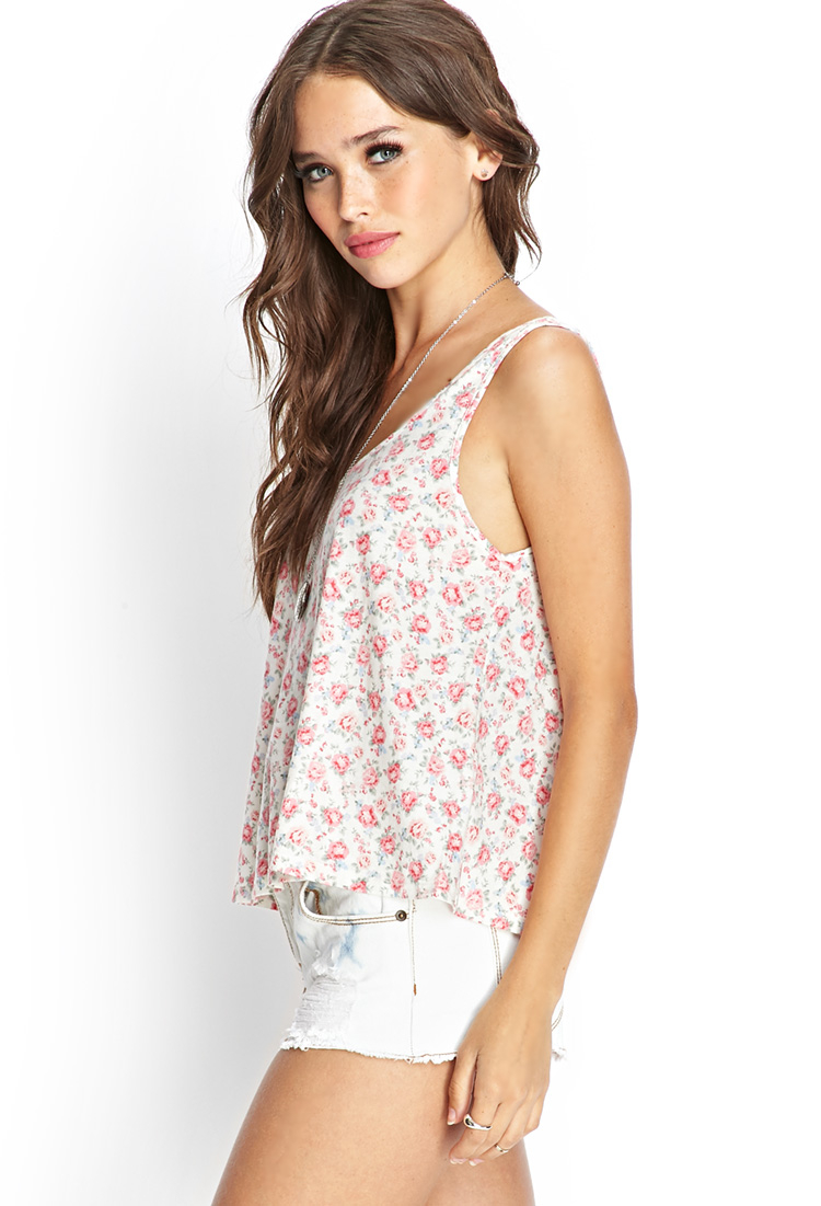 a9889706798 Forever 21 Floral Tank Top in Natural - Lyst