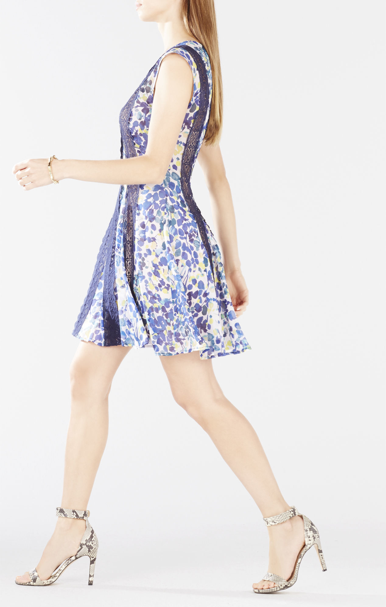 Bcbgmaxazria Jalena Floral Fit And Flare Dress In Black Lyst