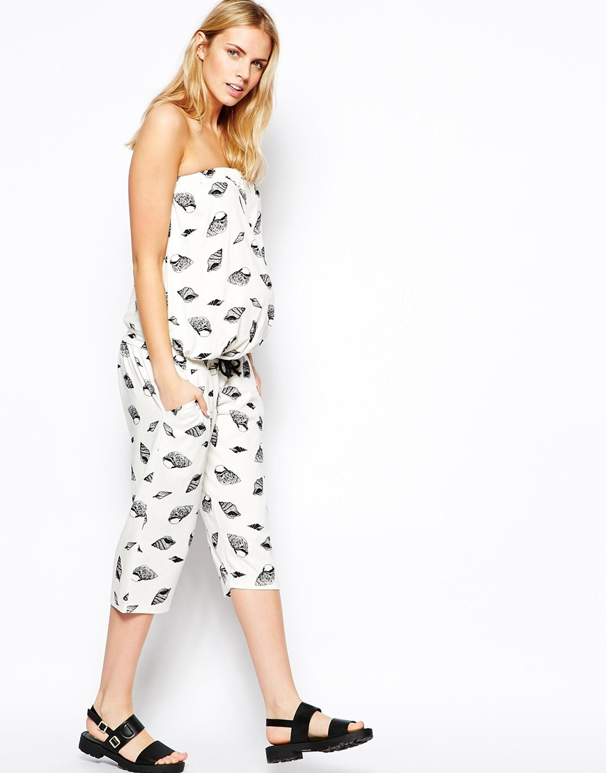 76a313019c Lyst - ASOS Exclusive Bandeau Jumpsuit In Seashell Print in Natural