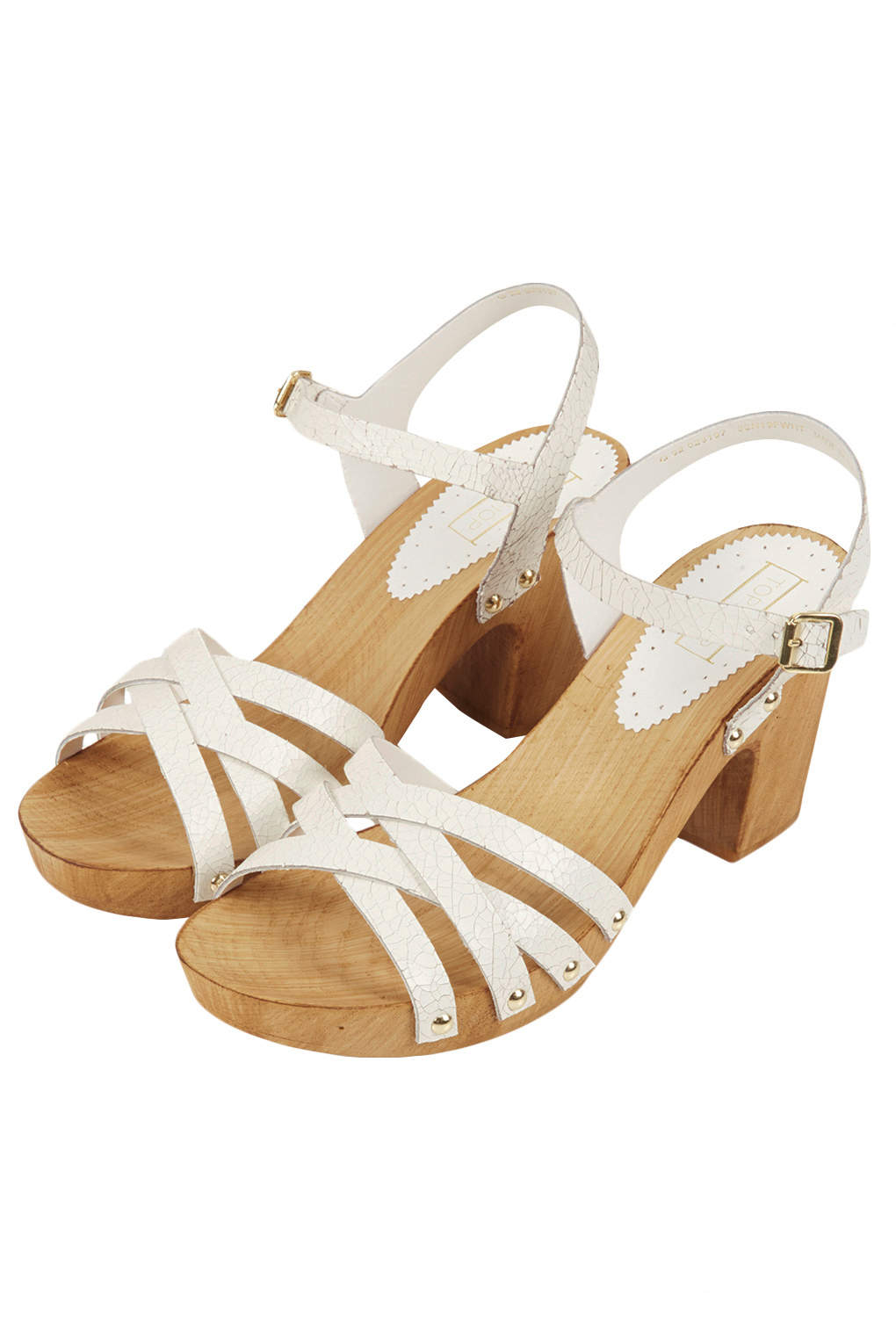 a1e816338c1 Lyst - TOPSHOP Nancy Chunky Wooden Sandals in White