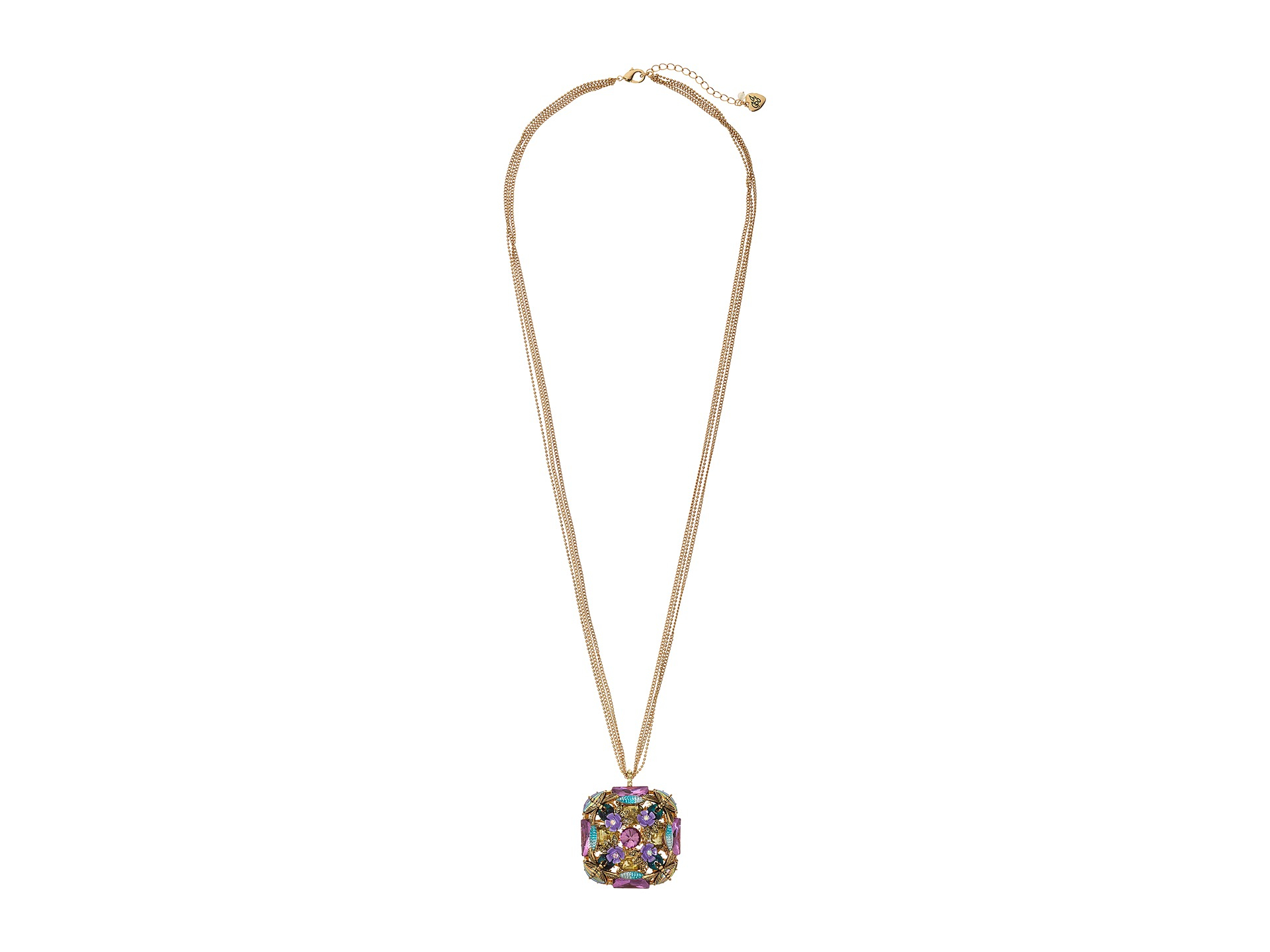 betsey johnson ahead square gem pendant necklace lyst
