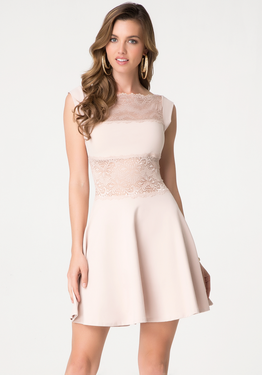 Bebe lace panel midriff dress in pink lyst gallery ombrellifo Images