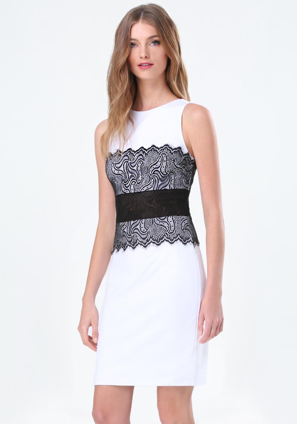 Lyst Bebe Verona Lace Corset Dress In Black