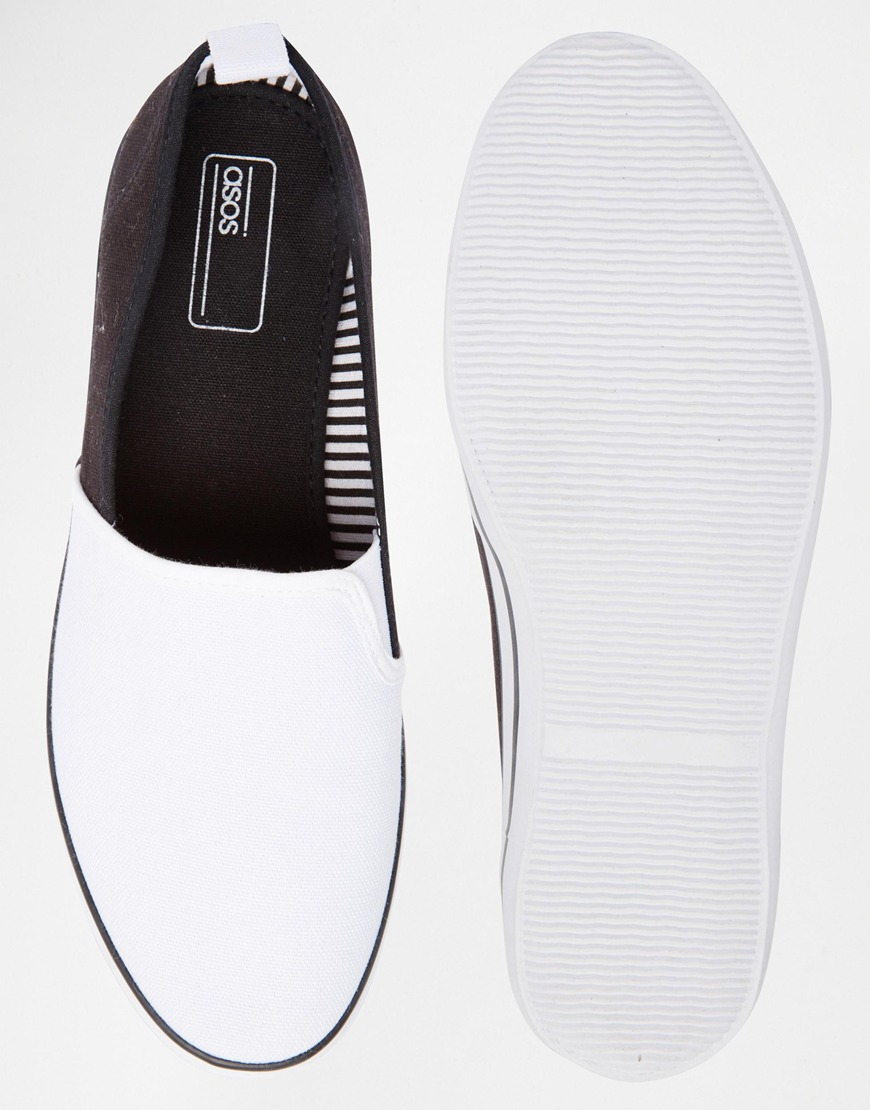 d334401988bf1 ASOS Slip On Sneakers In White Canvas in Black for Men - Lyst