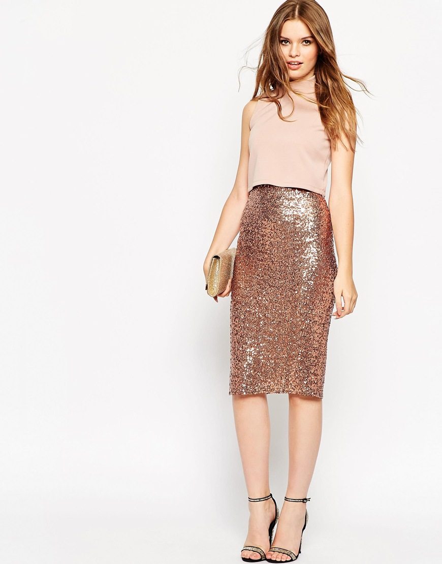 Asos Crop Top Midi Sequin Skirt Bodycon Dress - Brown in Brown | Lyst