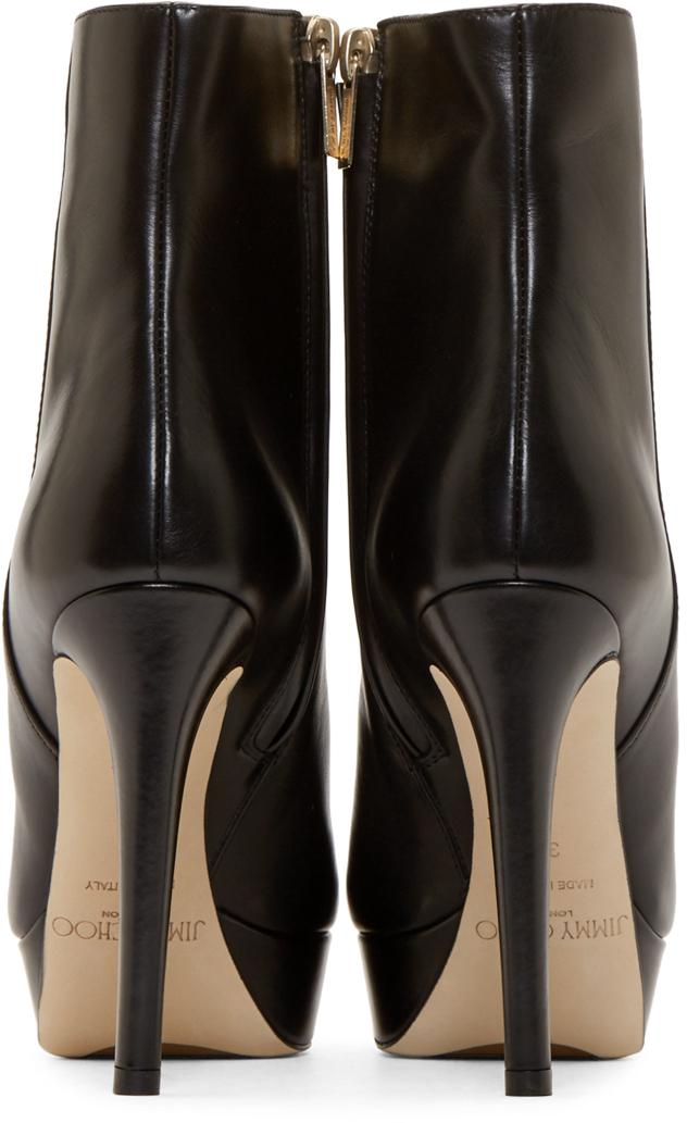 9664bf9b7db7 Lyst - Jimmy Choo Black Leather Maggie Stiletto Boots in Black