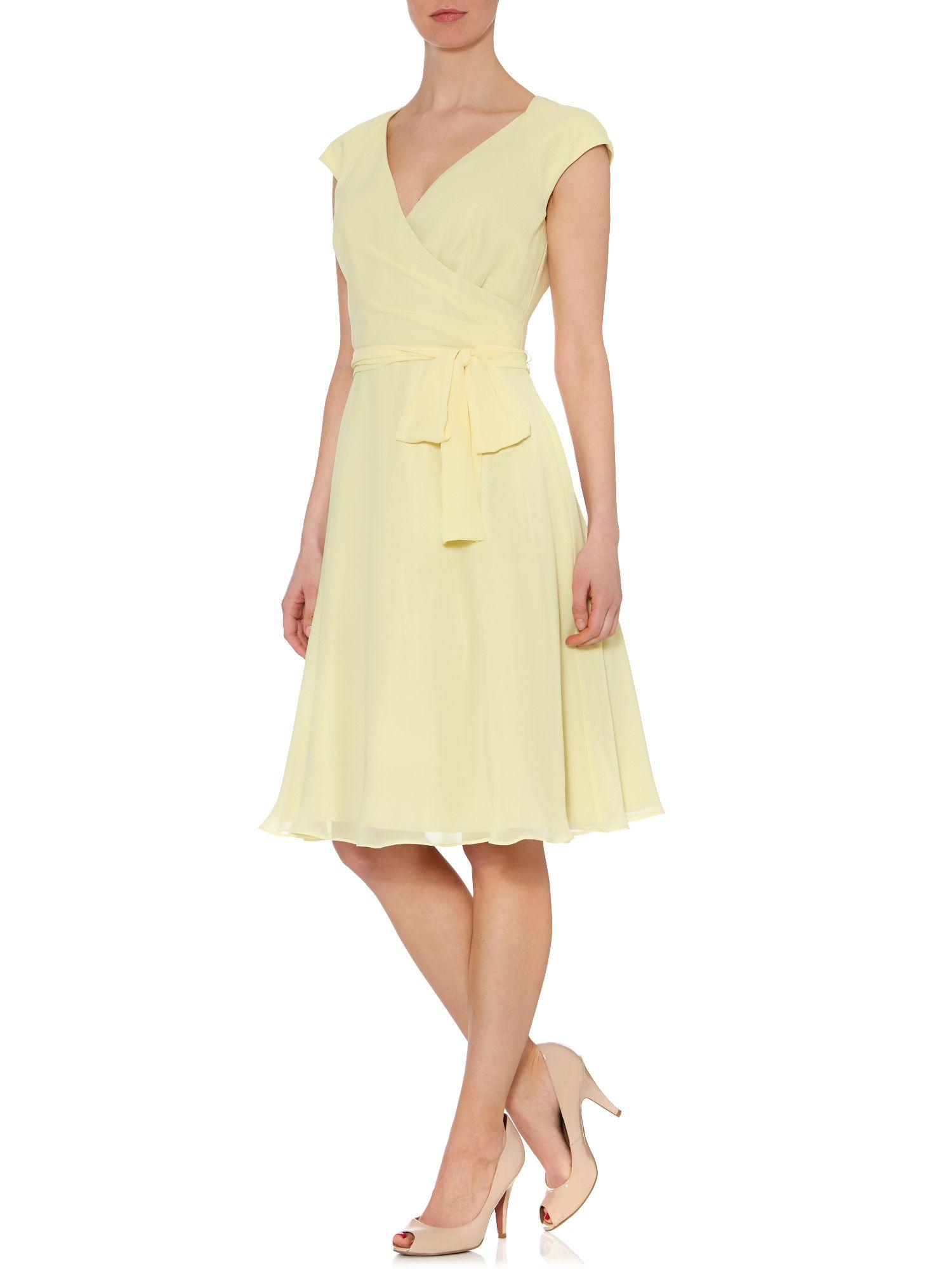 Ariella Bridesmaid Cap Sleeve Prom Dress in Yellow Lemon