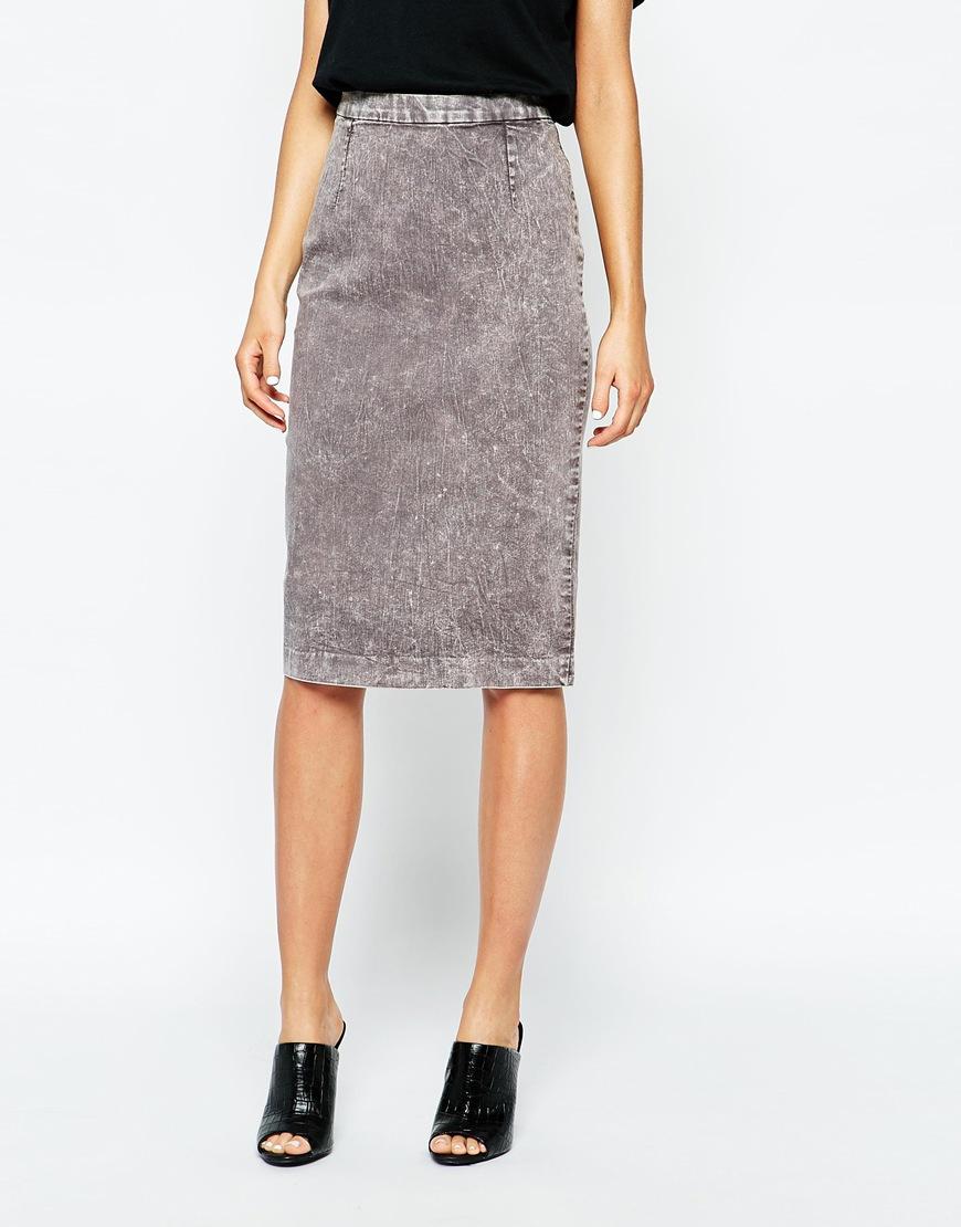 Cheap monday Denim Pencil Skirt in Gray | Lyst