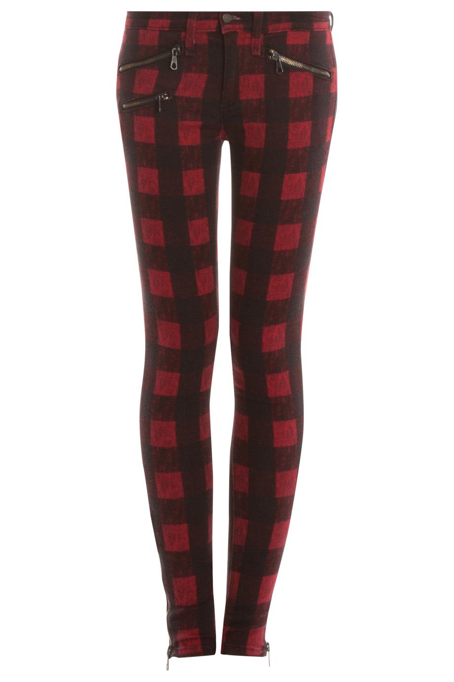 rag amp bone the plaid skinny jeans in red lyst
