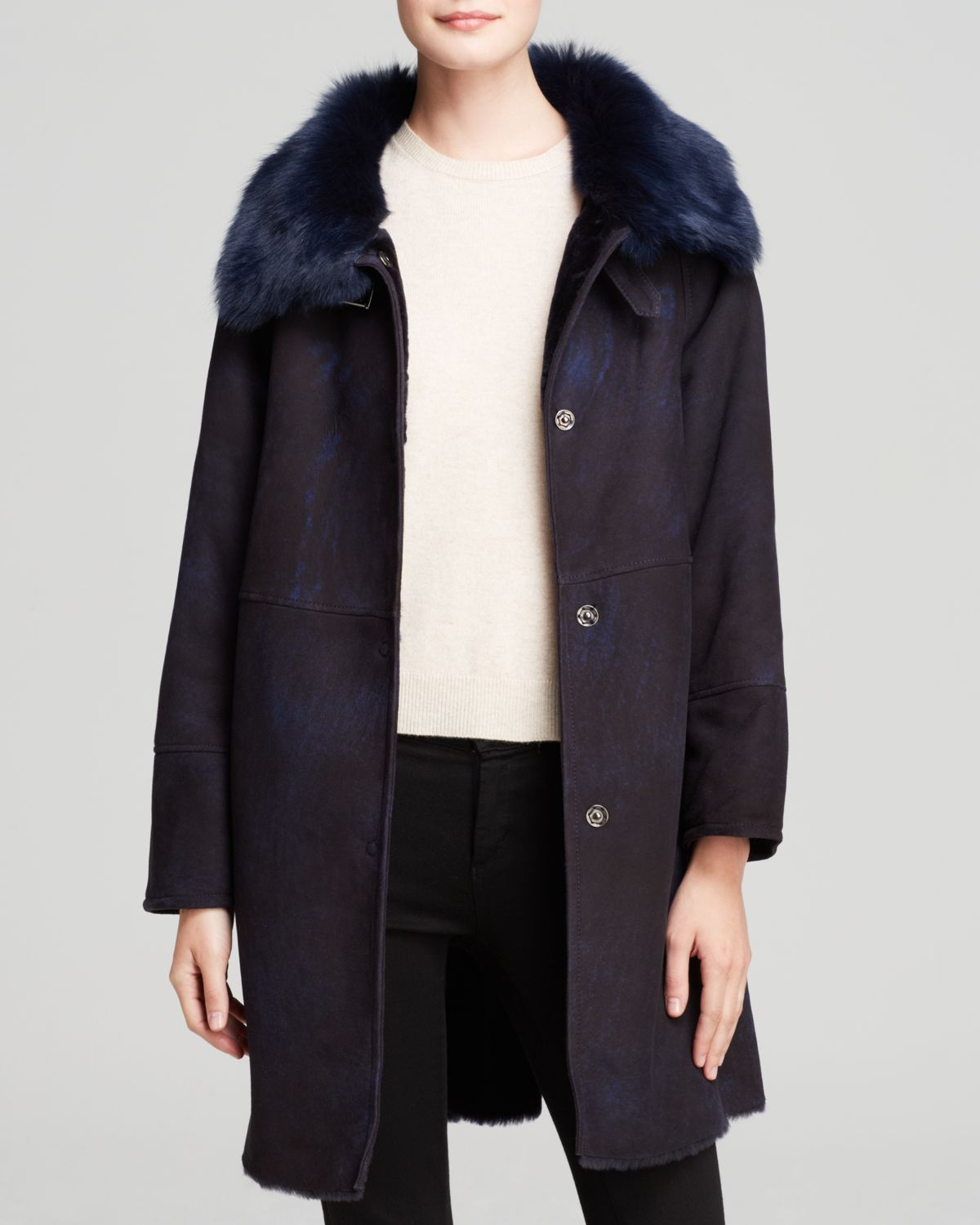 Maximilian Maximilian Shearling Lamb Coat With Toscana Lamb Wing