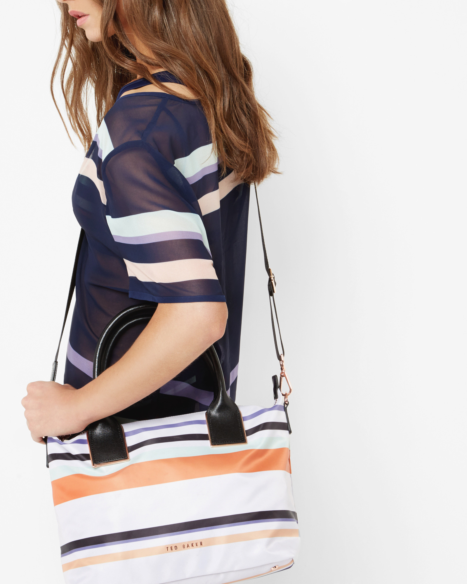e8a4a225003f26 Ted Baker Stripe Small Tote Bag in Blue - Lyst