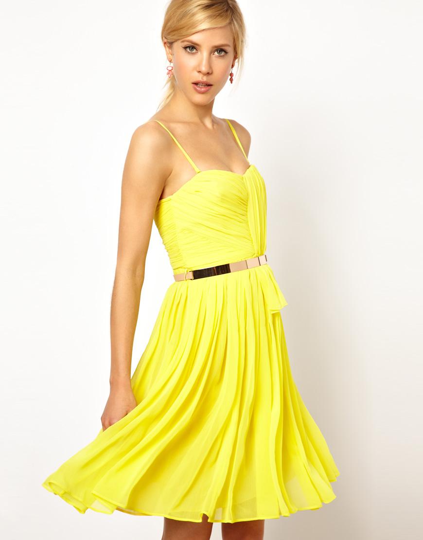 Lyst - Mango Chiffon Drape Bustier Dress in Yellow