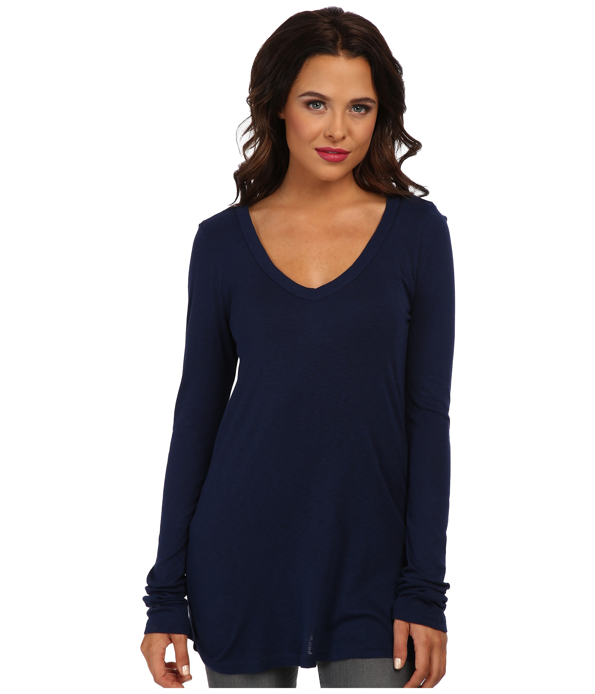 michael stars slub long sleeve v neck tee in blue lyst