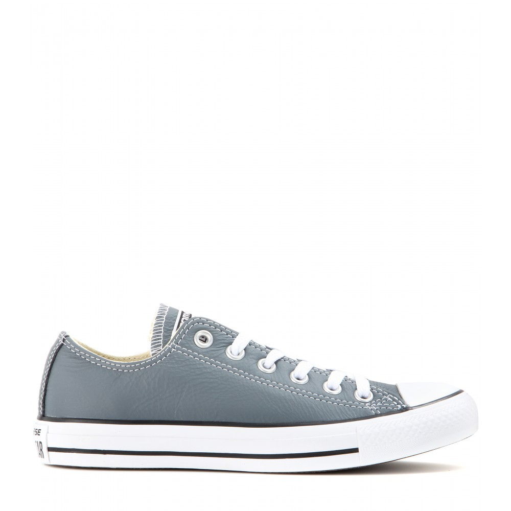 Lyst converse all star low chuck taylor leather sneakers - Graue converse ...