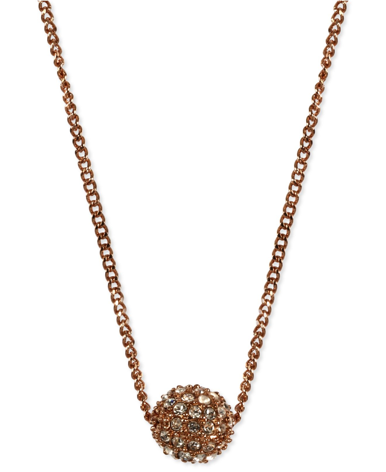 Givenchy Necklace Rose Gold Tone Crystal Fireball Pendant