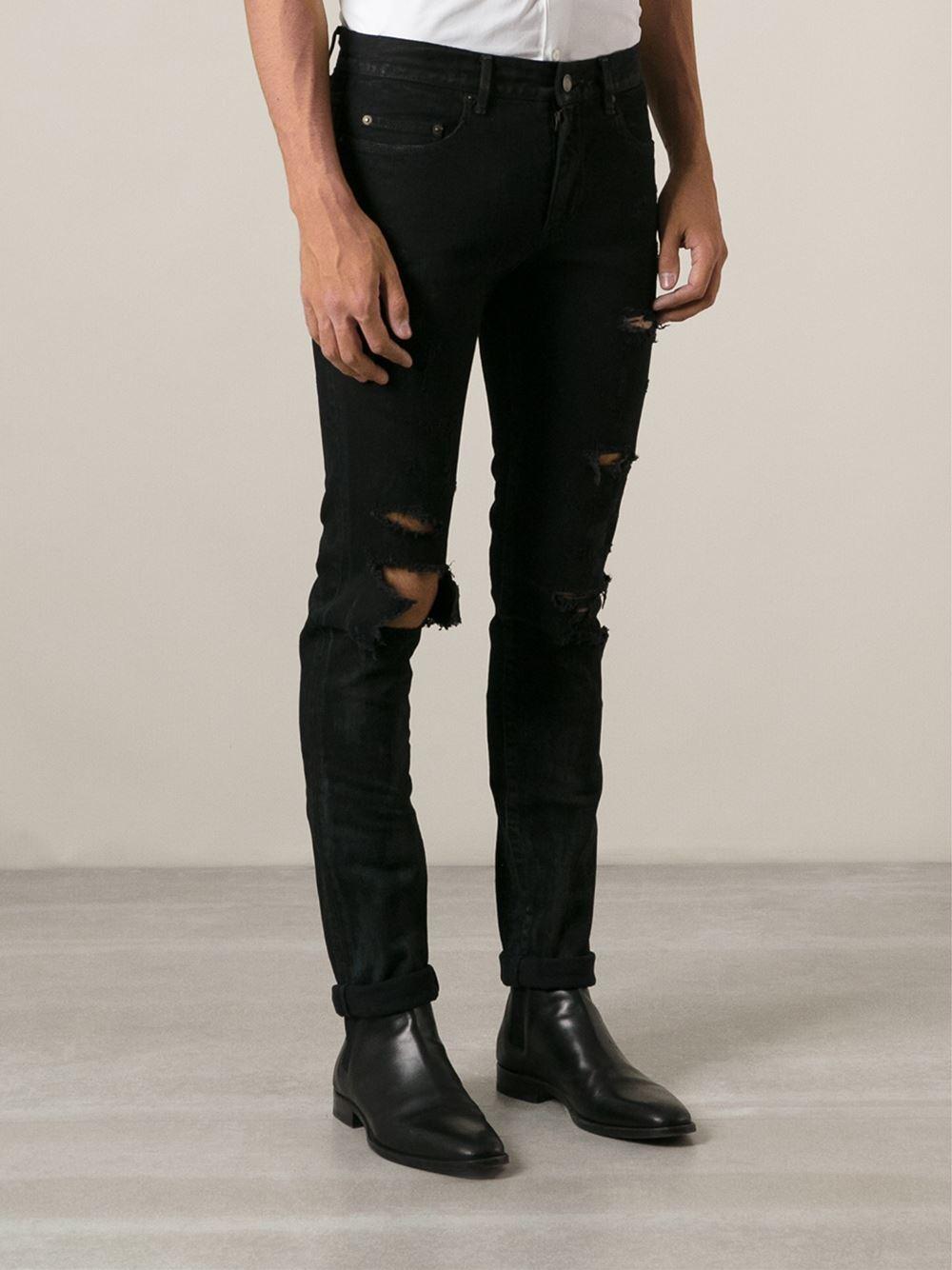 Saint laurent Distressed Skinny Jeans in Black for Men | Lyst