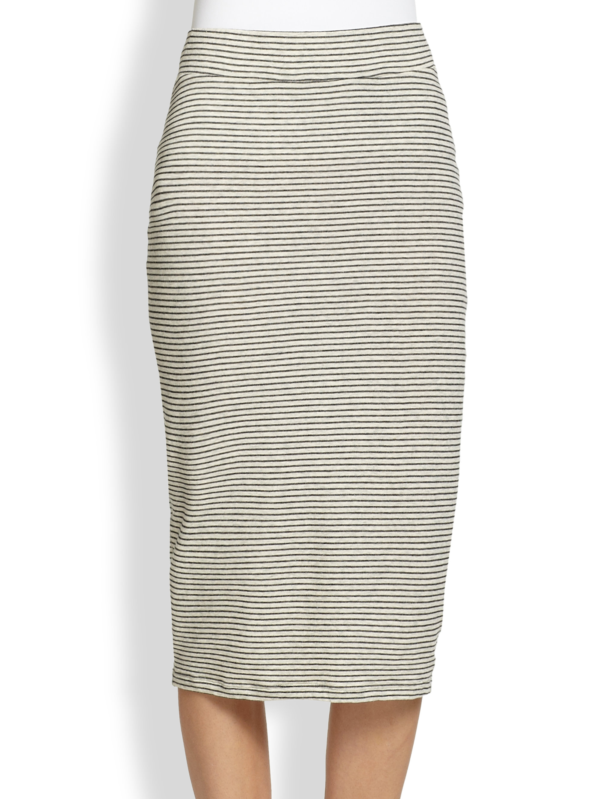 striped stretch jersey pencil skirt in gray