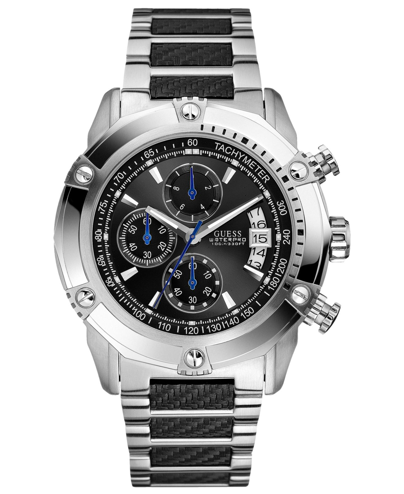 Lyst guess watch men 39 s chronograph stainless steel and carbon fiber bracelet 46mm u18507g2 in for Watches guess