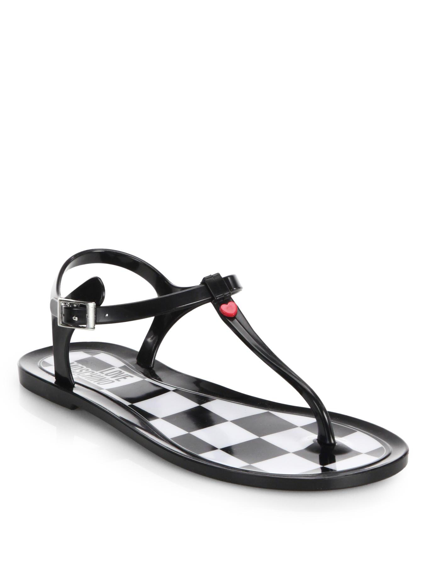 Love Moschino Jelly Thong Sandals In Black Lyst