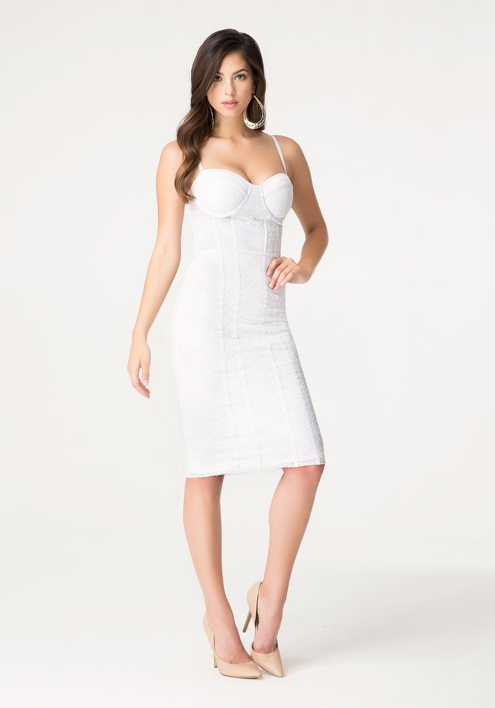 lyst bebe petite hook eye dress in white. Black Bedroom Furniture Sets. Home Design Ideas