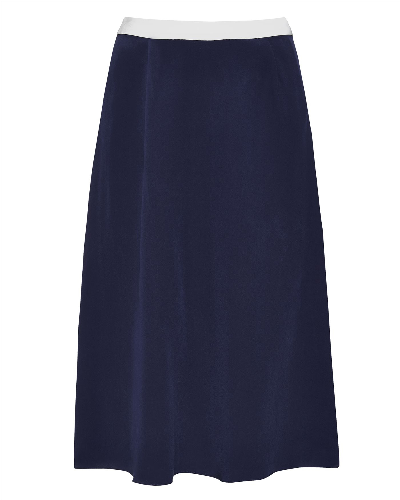 jaeger silk contrast tipping skirt in blue navy white