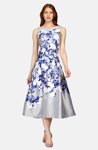 Kay Unger Floral Print Midi Fit Amp Flare Dress In Blue Lyst